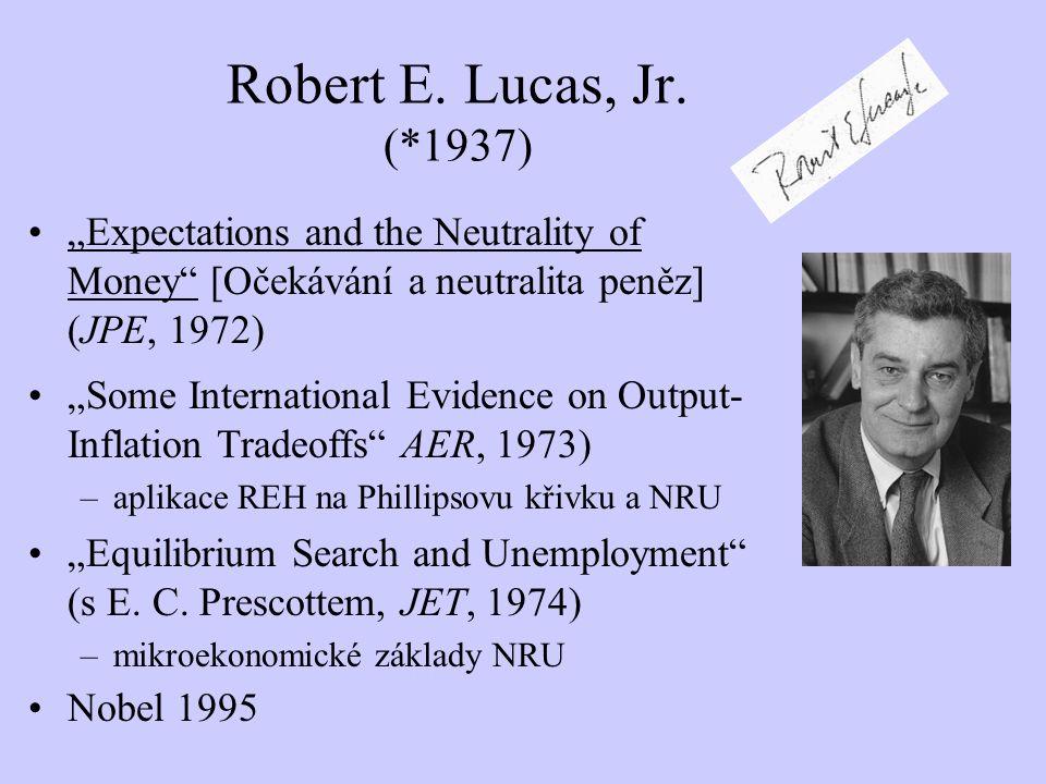 "Robert E. Lucas, Jr. (*1937) ""Expectations and the Neutrality of Money [Očekávání a neutralita peněz] (JPE, 1972)"